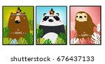 posters with animals. cartoon... | Shutterstock .eps vector #676437133