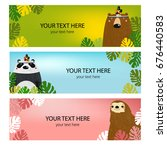 vector set of banners with cute ... | Shutterstock .eps vector #676440583