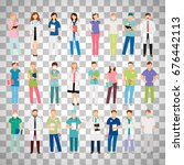 female and male doctors and... | Shutterstock .eps vector #676442113