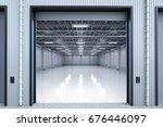 3d rendering warehouse interior ... | Shutterstock . vector #676446097