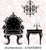 vintage black furniture set... | Shutterstock .eps vector #676450843