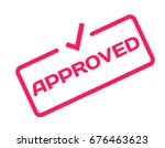 approved stamp in flat... | Shutterstock .eps vector #676463623