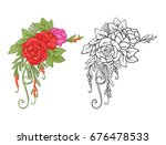 set of colored and outline... | Shutterstock .eps vector #676478533