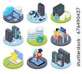 isometric system administrator. ... | Shutterstock .eps vector #676490437