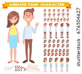 Front, side, back view animated characters. Male and female characters creation set with various views, face emotions, poses. Cartoon style, flat vector illustration. | Shutterstock vector #676504627