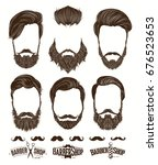 hairstyle and beard hipster... | Shutterstock .eps vector #676523653