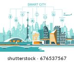 smart city flat. cityscape... | Shutterstock .eps vector #676537567