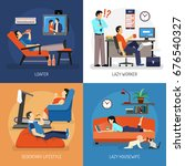 lazy people at work and at home ... | Shutterstock .eps vector #676540327