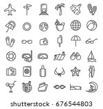 summer vacation outline icons.... | Shutterstock .eps vector #676544803