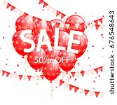lettering sale with red... | Shutterstock . vector #676548643