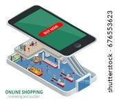 isometric online shopping... | Shutterstock .eps vector #676553623