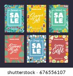 summer sale. colorful fashion... | Shutterstock .eps vector #676556107