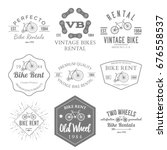 bike rent label and badges... | Shutterstock . vector #676558537