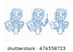 three variants robot character... | Shutterstock .eps vector #676558723