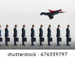 Small photo of superhero businessman overcoming inertia flying away from a static queue of businessmen