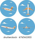 aviation icon set with jet... | Shutterstock .eps vector #676561003