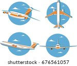 aviation icon set with jet... | Shutterstock .eps vector #676561057