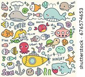 Stock vector set of cute under the sea doodle 676574653