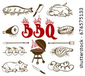 set of handdrawn bbq elements. | Shutterstock .eps vector #676575133