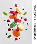 french macarons with fresh... | Shutterstock . vector #676582903