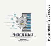 server with shield protection.... | Shutterstock .eps vector #676583983