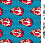 Seamless Lip Pattern With...