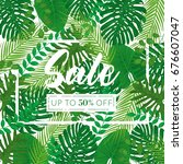 tropical leaves vector square... | Shutterstock .eps vector #676607047