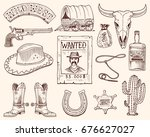 wild west  rodeo show  cowboy... | Shutterstock .eps vector #676627027
