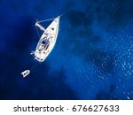aerial shot of beautiful blue... | Shutterstock . vector #676627633