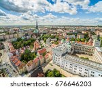 Szczecin - The landscape of the old town from the bird
