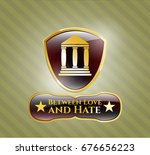 gold badge with bank icon and... | Shutterstock .eps vector #676656223