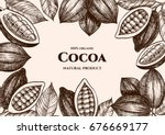 vector frame with cocoa. hand... | Shutterstock .eps vector #676669177