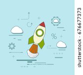rocket is flying in the clouds. ... | Shutterstock .eps vector #676677373