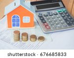 house model and coin on bank... | Shutterstock . vector #676685833