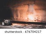 studio spotlight with texture... | Shutterstock . vector #676704217