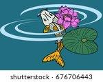 koii fish vector swiming on... | Shutterstock .eps vector #676706443