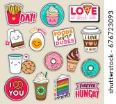 Stock vector set of fashion girls patches cute colorful badges fun cartoon icons design vector in food and 676723093