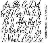 hand drawn dry brush font.... | Shutterstock .eps vector #676725967