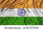 3d flag of india silk texture | Shutterstock . vector #676727533