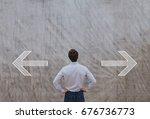 right or left  choosing... | Shutterstock . vector #676736773