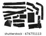duct repair tape black set ... | Shutterstock . vector #676751113