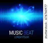 music beat vector. blue lights... | Shutterstock .eps vector #676760977