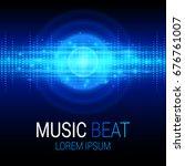 music beat vector. blue lights... | Shutterstock .eps vector #676761007