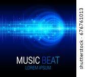 music beat vector. blue lights... | Shutterstock .eps vector #676761013