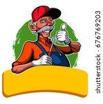 cartoon style handyman with the ... | Shutterstock .eps vector #676769203
