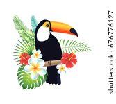 toucan on a white background... | Shutterstock .eps vector #676776127
