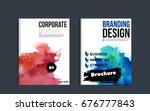impressive watercolor brochure... | Shutterstock .eps vector #676777843