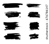 set of vector drawn ink brush... | Shutterstock .eps vector #676786147