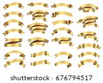 golden ribbon banner set.vector ...   Shutterstock .eps vector #676794517