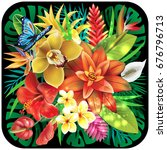 banner from tropical flowers | Shutterstock .eps vector #676796713